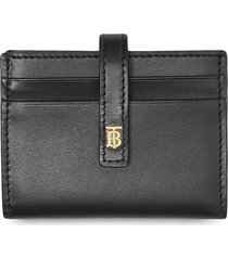 burberry monogram motif leather folding card case - black