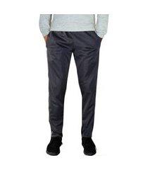 calça esporte  ks tecido agasalho cós de elástico bolsos frontais e faixas nas laterais ref. 0282 chumbo