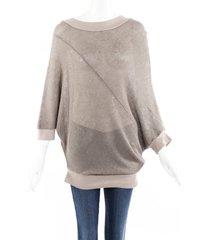 brunello cucinelli sequin dolman sleeve sweater brown sz: custom