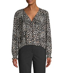 printed faux wrap blouse