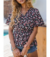 camicetta casual manica corta con scollo a v con stampa floreale in vita elastica da donna