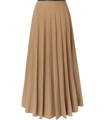 maxi flared pleated skirt in taupe
