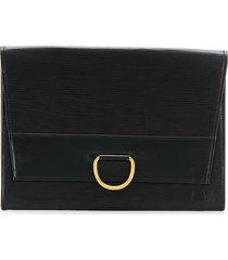 louis vuitton pre-owned 1989 foldover flat clutch - black