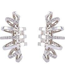 diamond 18k white gold cage clip earrings