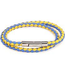 tods mycolors leather bracelet - yellow, light blue