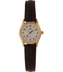 reloj café-dorado casio