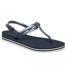 irredescent flat bea shoes summer shoes flat sandals blå tommy hilfiger