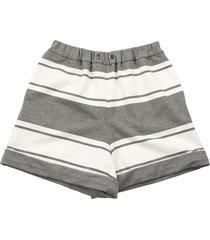 brunello cucinelli cotton striped fleece shorts