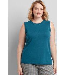 lane bryant women's sleeveless sweater shell 10/12 teal