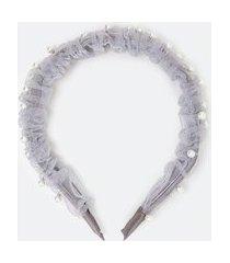 tiara larga com pérolas | accessories | cinza | u