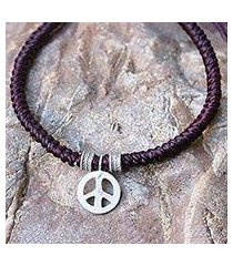silver wristband bracelet, 'peaceful charm in maroon' (thailand)