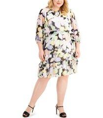 calvin klein plus size floral-print tiered dress