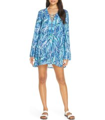 women's la blanca sketched leaves long sleeve tunic cover-up, size x-large - blue