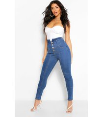 distressed skinny jeans met hoge taille, middenblauw