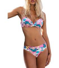 bikini admas 2-delige set push-up bikini capri roze
