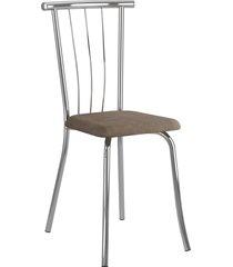 conjunto 2 cadeiras 154 tecido camurça móveis carraro marrom