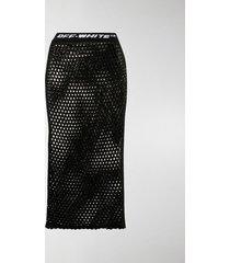 off-white logo waistband fishnet skirt