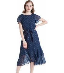 vestido manga corta con lazo azul lorenzo di pontti