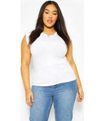 plus mouwloos t-shirt met schouderpads, wit