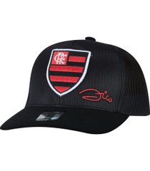 boné aba curva do flamengo zico supercap frente - snapback - trucker - adulto - preto