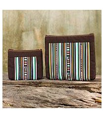 cotton blend cosmetic bags, 'exotic lisu in brown' (pair) (thailand)
