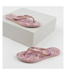 chinelo feminino havaianas slim flash sweet royal estampado paisley rosa