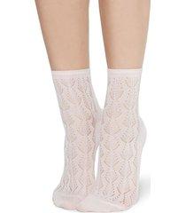 calzedonia openwork cotton socks woman pink size tu