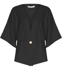 kimono linho misto isabella fiorentino para oqvestir - preto