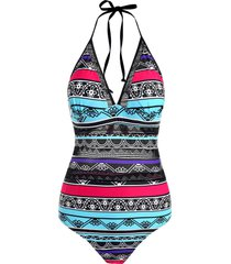striped print knot crochet panel one-piece swimsuit