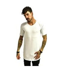 camiseta rich long básica lisa gola careca masculina