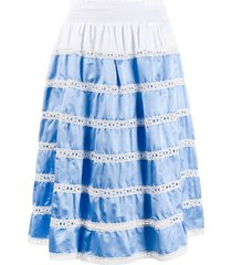 prada tiered high-waisted skirt - blue