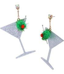 betsey johnson martini statement drop earrings