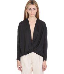 iro ednye blouse in black linen
