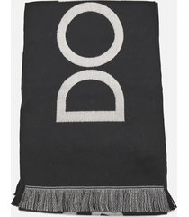 dolce & gabbana wool scarf with contrasting logo print