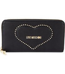 heart faux leather continental wallet