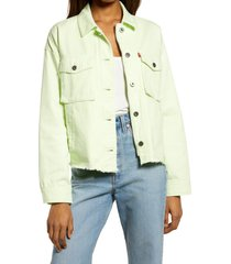 levi's crop raw hem utility jacket, size x-large in lime cream at nordstrom