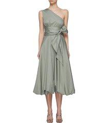 eco poplin one shoulder dress