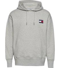 tjm tommy badge hoodie hoodie grå tommy jeans