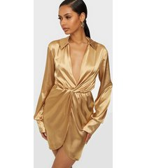 nly one satin wrap dress loose fit