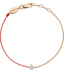 altesse pear diamond red cord and chain bracelet