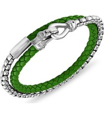 esquire men's jewelry green leather wrap bracelet in stainless steel (also available in blue leather & red leather), created for macy's