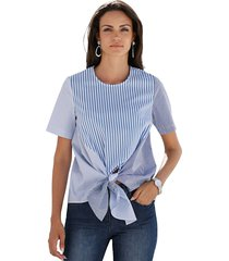 blouse amy vermont blauw::wit