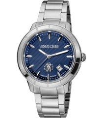 roberto cavalli by franck muller men's swiss quartz silver-tone stainless steel bracelet watch 42mm