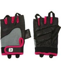 luvas para academia oxer slim fit com polegar - feminina - preto/rosa
