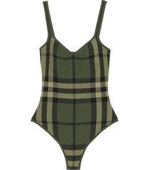 plaid print swimsuit military green