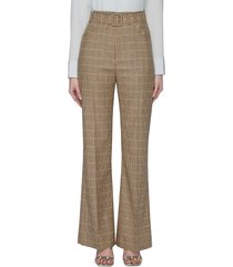 'clara' belted checked flared pants