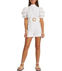 women's river island eyelet embroidery open back romper, size 2 us - white