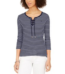 tommy hilfiger cotton ribbed lace-up top