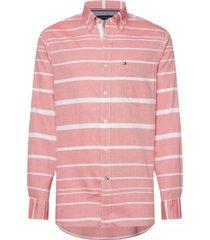 camisa a rayas horizontales rosado tommy hilfiger