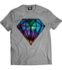 camiseta manga curta skull clothing diamante galaxy cinza